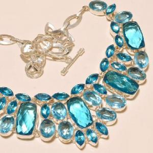 Tpz 273c collier parure sautoir topaze bleue suisse bijou argent 925 vente achat