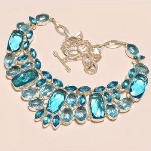 Tpz 273d collier parure sautoir topaze bleue suisse bijou argent 925 vente achat