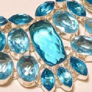 Tpz 273e collier parure sautoir topaze bleue suisse bijou argent 925 vente achat