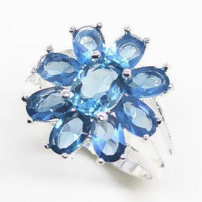 Tpz 274b bague t57 topaze bleue bijoux renaissance medievale argent 925 vente achat