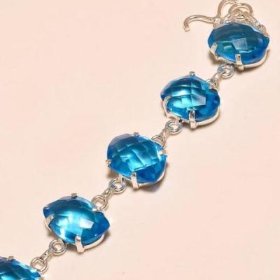 Tpz 277b bracelet topaze iolite bleue bijou argent 925 vente achat
