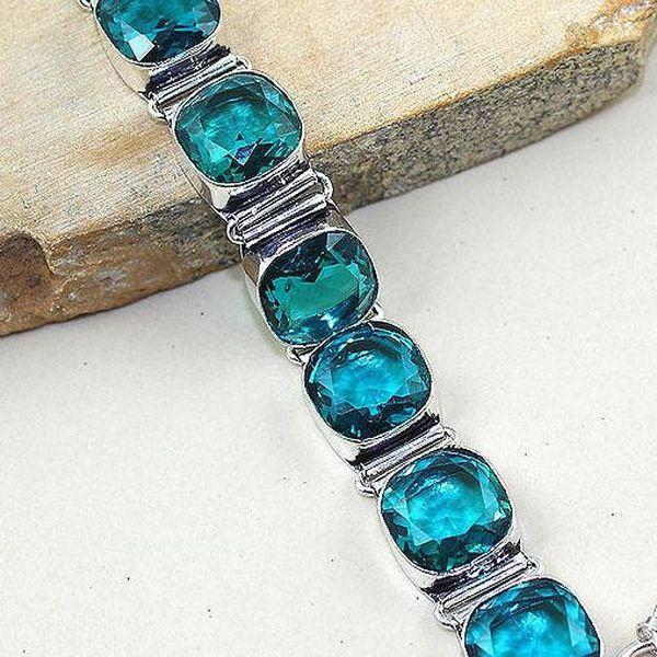 Tpz 308c bracelet topaze iolite bleue bijou argent 925 vente achat
