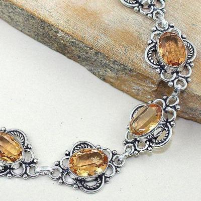 Tpz 310c bracelet topaze champagne rose peche bijou argent 925 vente achat
