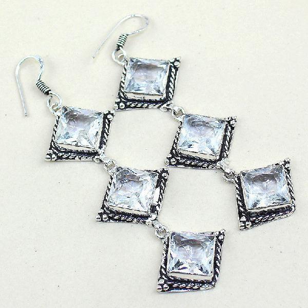 Tpz 315a boucles pendant oreilles topaze quartz blanche cristal bijou argent 925 vente achat