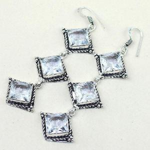 Tpz 315b boucles pendant oreilles topaze quartz blanche cristal bijou argent 925 vente achat
