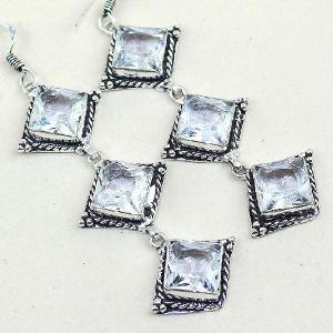 Tpz 315c boucles pendant oreilles topaze quartz blanche cristal bijou argent 925 vente achat
