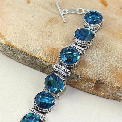 Tpz 320c bracelet topaze quartz bleue iolite suisse bijou argent 925 vente achat 1