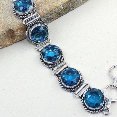 Tpz 322c bracelet topaze quartz bleue iolite suisse bijou argent 925 vente achat