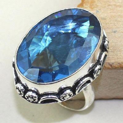Tpz 325a bague t58 topaze bleu suisse gemme taille lithotherapie bijou argent 925 vente achat