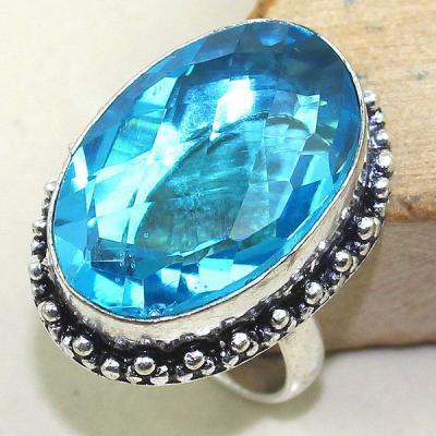 Tpz 327a bague t57 topaze bleu suisse gemme taille lithotherapie bijou argent 925 vente achat