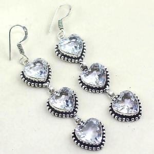 Tpz 332a boucles coeur pendant oreilles topaze quartz blanche cristal bijou argent 925 vente achat