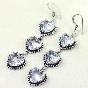 Tpz 332b boucles coeur pendant oreilles topaze quartz blanche cristal bijou argent 925 vente achat