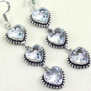 Tpz 332c boucles coeur pendant oreilles topaze quartz blanche cristal bijou argent 925 vente achat