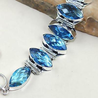 Tpz 333b bracelet topaze quartz bleue tanzanite bijou argent 925 vente achat