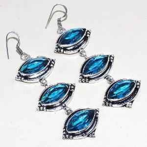 Tpz 336a boucles pendant oreilles topaze quartz bleue suisse bijou argent 925 vente achat
