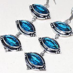 Tpz 336b boucles pendant oreilles topaze quartz bleue suisse bijou argent 925 vente achat