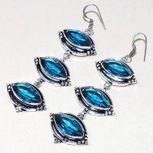 Tpz 336c boucles pendant oreilles topaze quartz bleue suisse bijou argent 925 vente achat