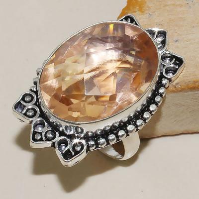 Tpz 337a bague t59 chevaliere topaze rose peche bijoux medievale argent 925 vente achat