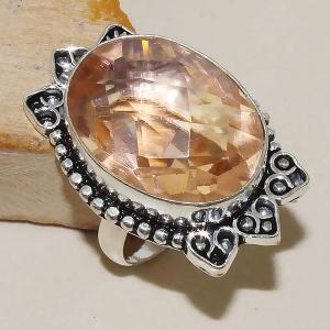 Tpz 337b bague t59 chevaliere topaze rose peche bijoux medievale argent 925 vente achat