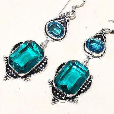 Tpz 339b boucles pendant oreilles topaze quartz bleue suisse bijou argent 925 vente achat