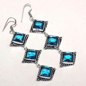 Tpz 340a boucles pendant oreilles topaze quartz bleue suisse bijou argent 925 vente achat