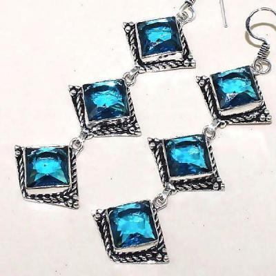 Tpz 340b boucles pendant oreilles topaze quartz bleue suisse bijou argent 925 vente achat