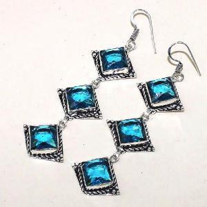 Tpz 340c boucles pendant oreilles topaze quartz bleue suisse bijou argent 925 vente achat