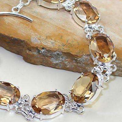 Tpz 342b bracelet topaze quartz peche champagne bijou argent 925 vente achat