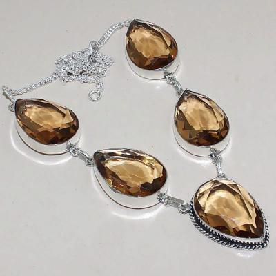 Tpz 344a collier sautoir parure topaze quartz peche champagne bijou argent 925 vente achat