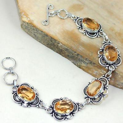 Tpz 345d bracelet topaze quartz peche champagne bijou argent 925 vente achat
