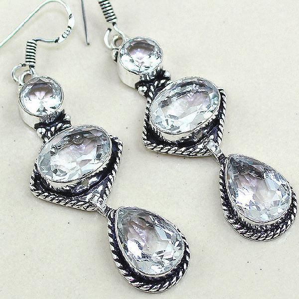 Tpz 348c boucles pendant oreilles topaze blanche cristal bijou argent 925 vente achat