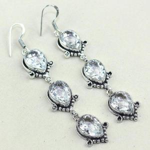 Tpz 349a boucles pendant oreilles topaze blanche cristal bijou argent 925 vente achat