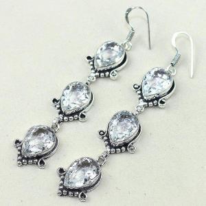 Tpz 349b boucles pendant oreilles topaze blanche cristal bijou argent 925 vente achat