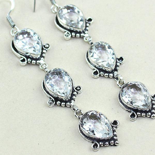Tpz 349c boucles pendant oreilles topaze blanche cristal bijou argent 925 vente achat