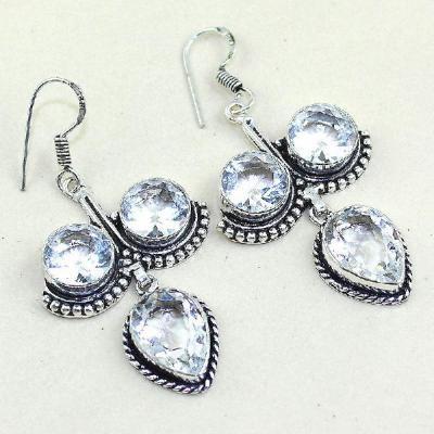 Tpz 350a boucles pendant oreilles topaze blanche cristal bijou argent 925 vente achat