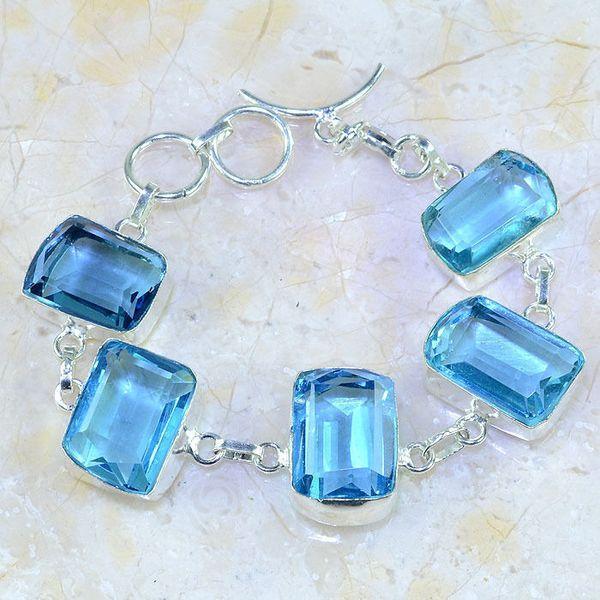 Tpz 361a bracelet topaze quartz bleue tanzanite bijou argent 925 vente achat