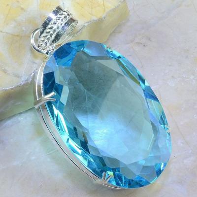 Tpz 364a pendentif pierre topaze bleu suisse gemme lithotherapie bijou argent 925 vente achat