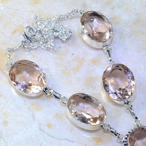 Tpz 376c collier sautoir parure topaze rose pink bijou argent 925 vente achat