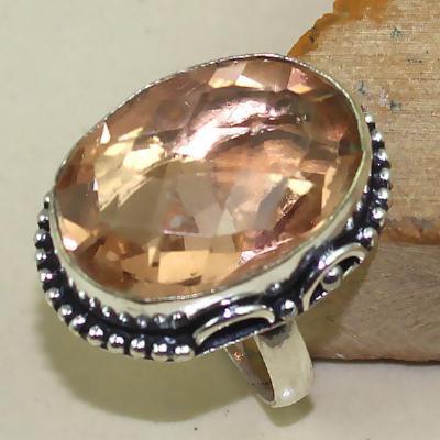 Tpz 377a bague t60 chevaliere topaze rose peche bijoux medievale argent 925 vente achat