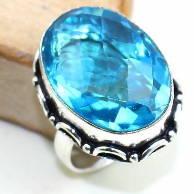 Tpz 384b bague t57 medievale chevaliere topaze bleue suisse bijoux argent 925 vente achat