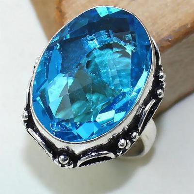 Tpz 387a bague t57 medievale chevaliere topaze bleue suisse bijoux argent 925 vente achat