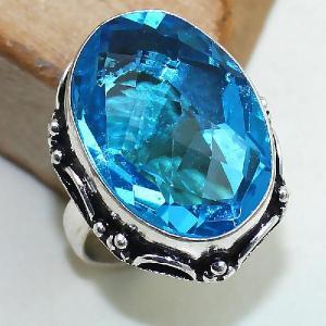 Tpz 387b bague t57 medievale chevaliere topaze bleue suisse bijoux argent 925 vente achat