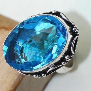 Tpz 387c bague t57 medievale chevaliere topaze bleue suisse bijoux argent 925 vente achat