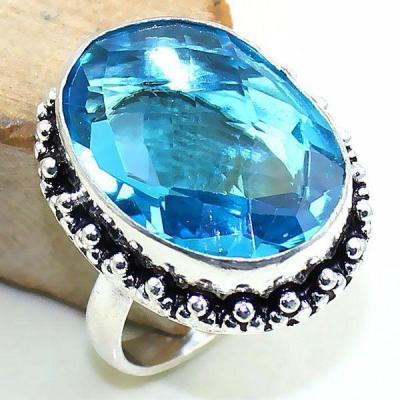 Tpz 389b bague t59 medievale chevaliere topaze bleue suisse bijoux argent 925 vente achat