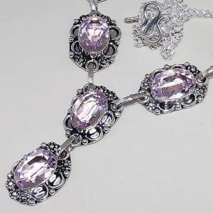 Tpz 392b collier sautoir parure topaze rose pink bijou argent 925 vente achat