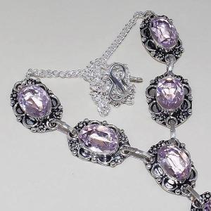 Tpz 392c collier sautoir parure topaze rose pink bijou argent 925 vente achat