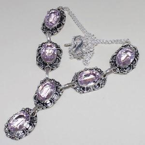 Tpz 392d collier sautoir parure topaze rose pink bijou argent 925 vente achat