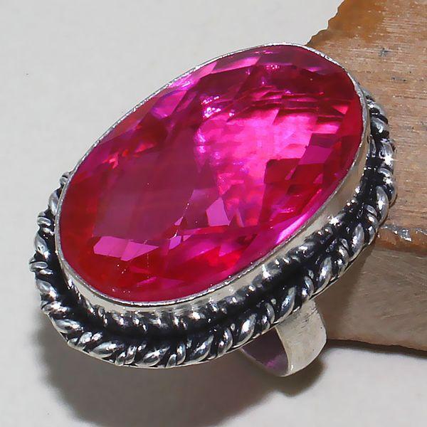 Tpz 393a bague t60 chevaliere medievale topaze rose pink bijoux argent 925 vente achat