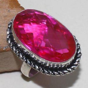 Tpz 393b bague t60 chevaliere medievale topaze rose pink bijoux argent 925 vente achat
