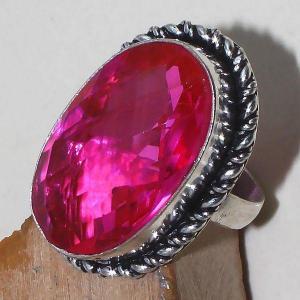 Tpz 393c bague t60 chevaliere medievale topaze rose pink bijoux argent 925 vente achat